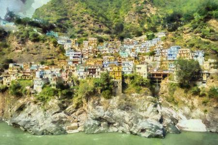 case colorate: Case colorate in illustrazione montagna