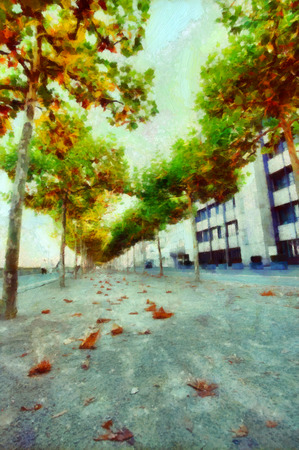 lonesome: Empty colorful alley in fall illustration Stock Photo