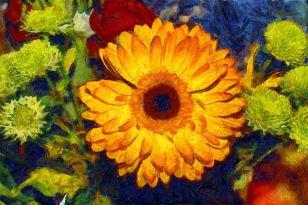 van gogh: Gerbera bouquet oil painting Van Gogh style