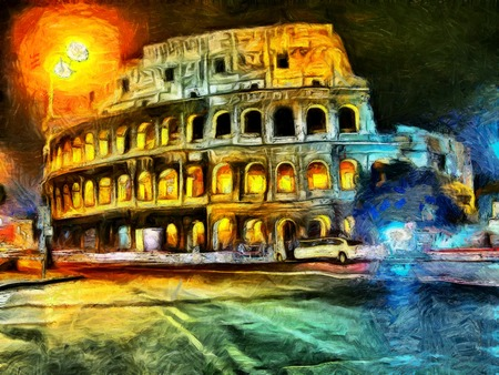 landscape architecture: Bright illumination of Colliseum at night painting