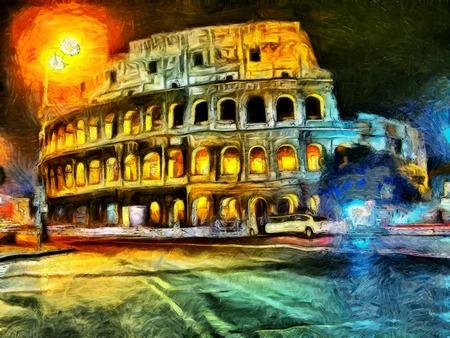Heldere verlichting van Colliseum nachts schilderij Stockfoto