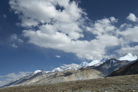 ridges: Snowy mountain ridges in Ladakh landscape