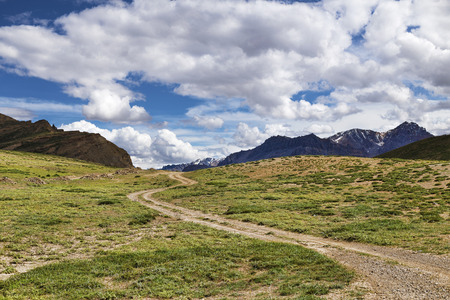 green meadows: Winding dirt road among green meadows going to snow peaks Stock Photo
