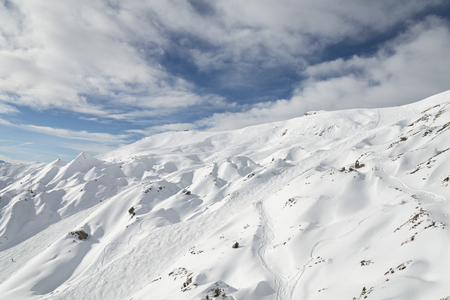 ski traces: Winter ski alpine resort slopes aerial view Stock Photo