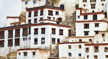 stucco facade: White stucco tibetan style buildings facade of Buddhist monastery