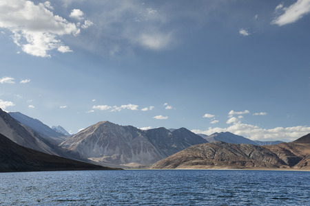altitude: Rippled surface Himalayan high altitude lake landscape