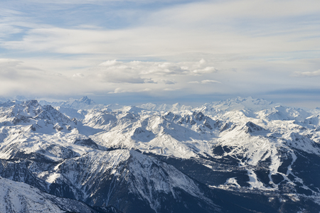 Winter alps mountain range aerial view 版權商用圖片