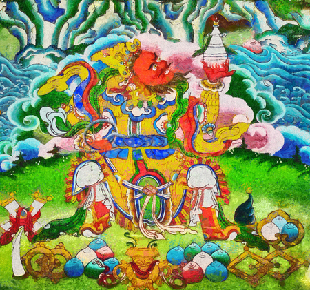 mythology: Tibetan mythology character oil painting thanka style Stock Photo