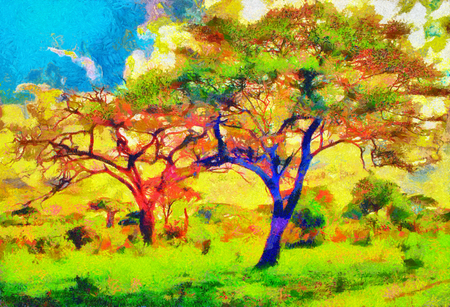 twiggy: Colorful trees impressionist african landscape oil painting Stock Photo