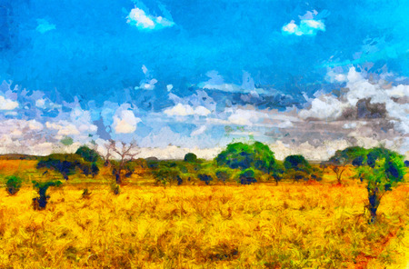 oil park: African savannah in safari park oil painting Stock Photo