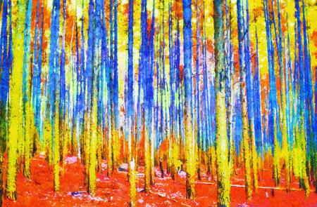 秋油絵でサイケデリックなカラフルな妖精の森林 写真素材