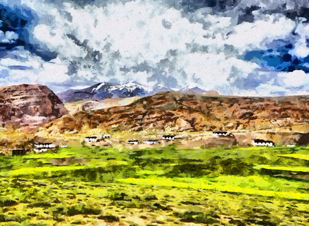 tibetan: Tibetan like village in mountains oil painting