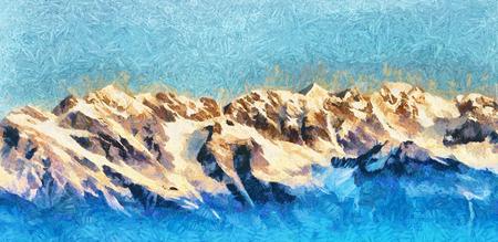range: Himalayan mountain range snow peaks panorama oil painting