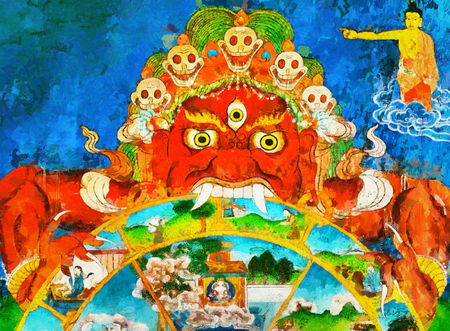 bodhisattva: Terrible buddhist monster demon and bodhisattva oil painting thanka style Stock Photo