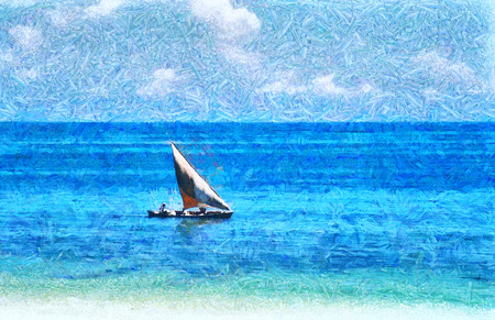 Sailboat in turquoise ocean oil painting Stock Photo