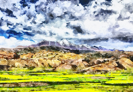 green fields: Himalayan snow peak mountains among green fields oil painting Stock Photo
