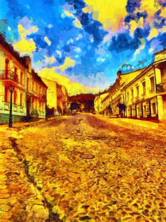 descend: Cityscape old European city descend colorful oil painting