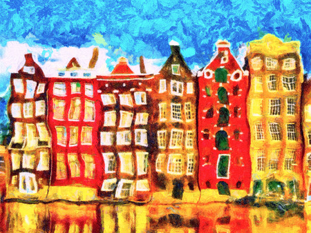morphing: Colorful Amsterdam morphing buildings on canal psychedelic oil painting