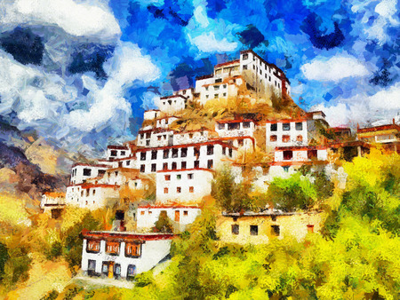 tibetan: White walled tibetan style monastery on top of hill oil painting Stock Photo