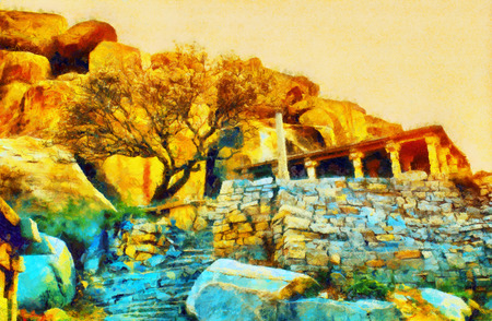 Ruins of ancient temple at sunset colorful oil painting