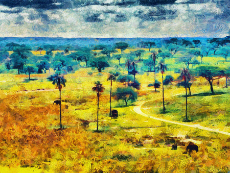 baobab: Elephants in savannah among baobab and palm trees aerial view oil painting