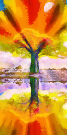 baobab tree: Baobab tree reflecting in water colorful fairy oil painting