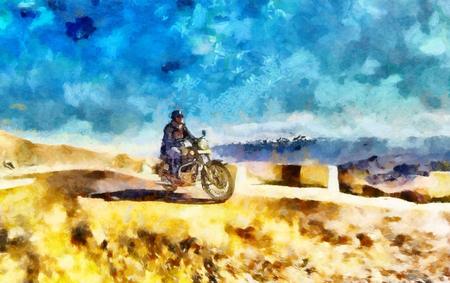 driving range: Man on motorcycle among Himalaya mountains oil painting