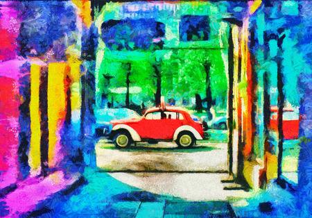 町油絵のサイケデリック アートの赤い車