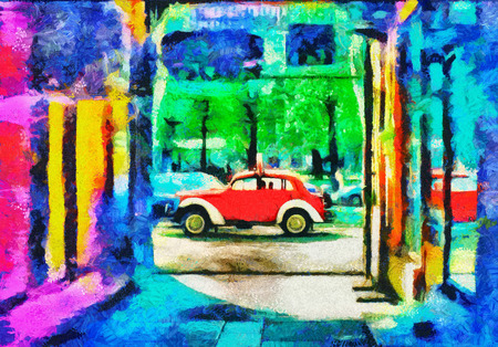 Psychedelic art red car in town oil painting