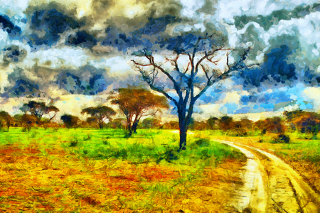 oil park: Colorful landscape african safari park road oil painting