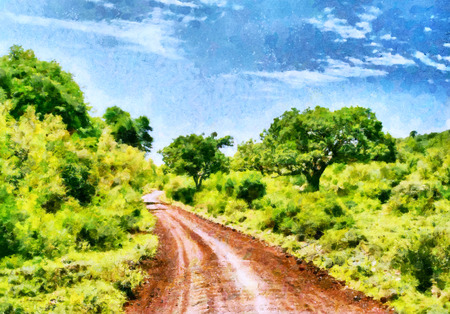 tree lined street: Red clay road among forest safari in african national park oil painting