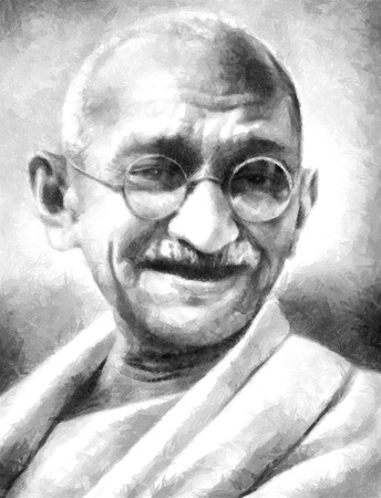 Pencil drawing of a portrait of The Father of the Nation India - Mahatma Ghandi Фото со стока - 49600123