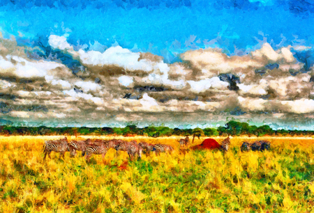 troops: Colorful impressionist african landscape with troops of zebras oil painting Stock Photo