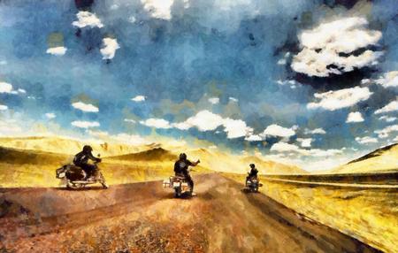 オートバイ冒険油絵の友達のグループ