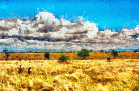 painting style: Yellow grassland savannah oil painting Stock Photo