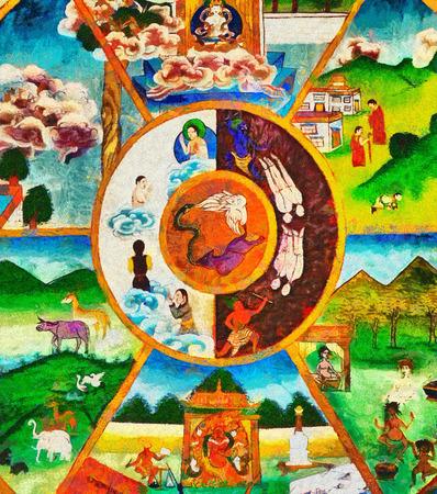 Красочный буддийский тханка колесо жизни масляной живописи Фото со стока