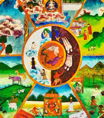 buddhist temple: Colorful Buddhist thanka wheel of life oil painting Stock Photo