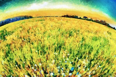 dandelion snow: Spherical perspective flowering blow balls meadow oil painting Stock Photo