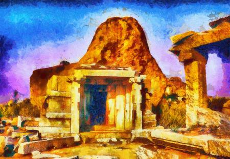 pintura rupestre: ruinas cueva templo tumba en la pintura al �leo crep�sculo roca Foto de archivo