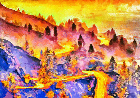 rural road: Colorful psychedelic mountain morning landscape oil painting Stock Photo