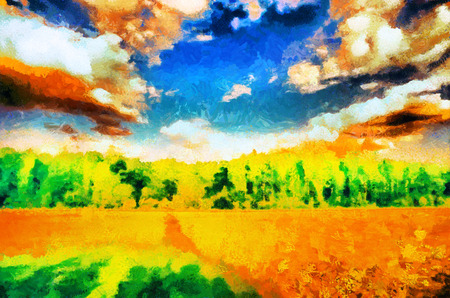field landscape: impressionist style summer field landscape oil painting