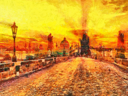 Prague: Charles bridge at early morning sunrise sun beams oil painting Stock Photo