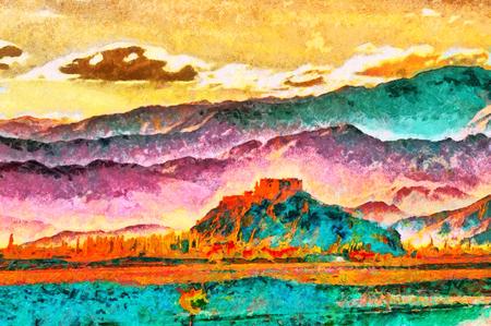 Castle on rock colorful landscape oil painting