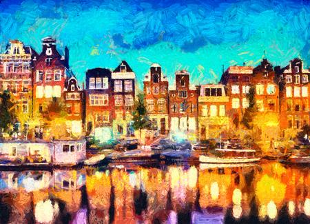 アムステルダムの運河沿いの家の油絵 写真素材