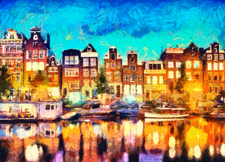 Amsterdam canal houses oil painting 版權商用圖片 - 77531319
