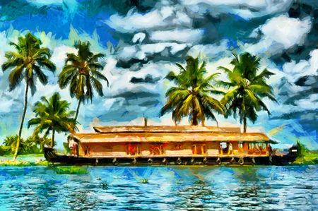 Kerala traditional house boat in backwaters oil painting