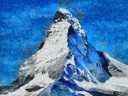 Mount Matterhorn snow face - oil painting