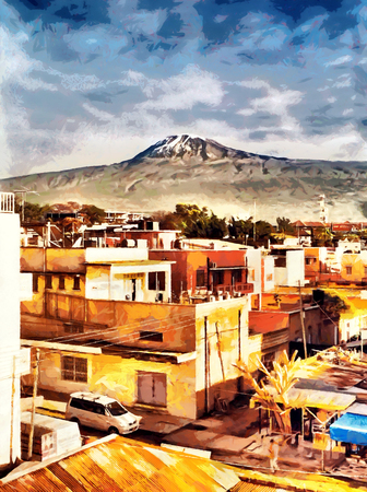 Kilimanjaro mountain landscape from town view  oil painting