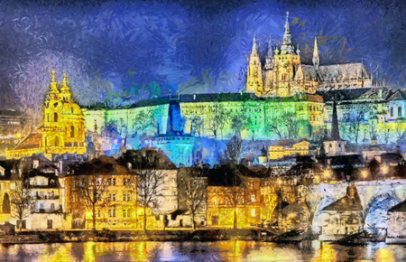 charles: Prague: colorful illuminated palaces and churches over rver oil painting Stock Photo