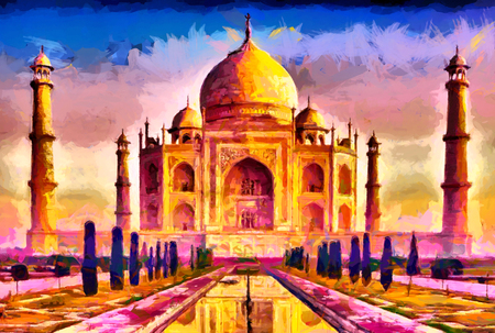 Taj Mahal colorful yellow purple oil painting 版權商用圖片